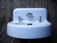 1930s Vintage Porcelain Over Cast Iron Wall Mount Sinkfor Sale