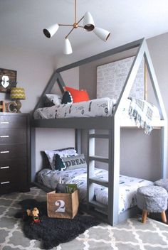We all know how difficult it is to decorate a kids bedroom. A special place for any type of kid, this Shop The Look will get you all the kid's bedroom decor ide Bunk Beds For Boys Room, Cool Bunk Beds, Kid Beds, Kids Beds For Boys, Twin Boys, Rooms For Boys, Cool Kids Beds, Big Boy Rooms, Unique Bunk Beds