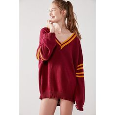 BDG Distressed Hockey Pullover Sweater ($59) ❤ liked on Polyvore featuring tops, sweaters, v-neck sweater, red v neck sweater, distressed sweater, ribbed v neck sweater and red striped sweater