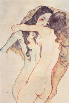 Egon Schiele - Mujeres amándose