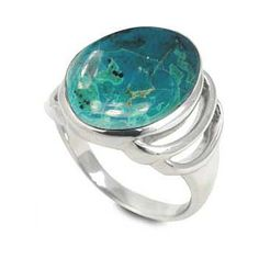 Sterling Silver Ring with Oval Chrysocolla Stone (BTS-NRB6613/CRY/R) - Size 7. Made from quality .925 sterling silver. Stylish design. 30 day satisfaction guarantee.