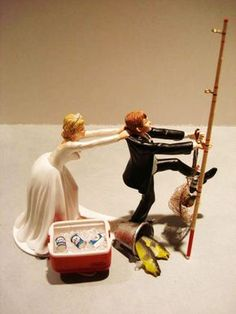 No Fishing Come Back Funny Wedding Cake Topper Bride And Groom