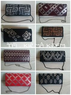 Super cute evening hand bags featuring examples of the Turkish Tel Kirma embroidery technique, the cousin/ancestor of Egyptian assiut - assuit - asyut - tulle bi telli Plastic Canvas Stitches, Plastic Canvas Coasters, Plastic Canvas Crafts, Plastic Canvas Patterns, Diy Clutch, Clutch Bag, Leather Bags Handmade, Handmade Bags, Palestinian Embroidery