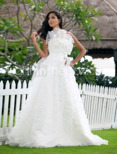 A-line Strapless Sweep/ Brush Train Tulle Wedding Dress