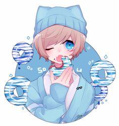My fav color blue he soo cute Chibi Anime, Art Anime, Kawaii Anime, Manga Anime, Cute Anime Guys, Hot Anime Boy, Anime Boys, Anime Style, Character Art