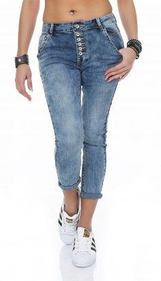 SKUTARI Luxuriöse Damen Krempel Jeans Stretch Baggy Loose Fit Damen Krempel Jeans Hose Boyfriend offene Knopfleiste Baggy