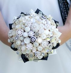 The Deluxe Bassey Button Bouquet - Ivory Vintage Buttons and Rhinestone Buttons via Etsy.