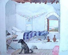 Slaapkamer te Beiroet, Alexine Tinne maakte deze aquarel tijdens haar verblijf in Beiroet in 1856 of 1857 - Tinne Family Archives