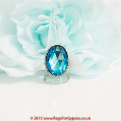 Blue Czech Crystal Gypsy  Ring by RagsForGypsies on Etsy