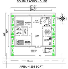 This is South Facing House Plan As Per Vastu Shastra. The land area of this plan is 2bhk House Plan, Open House Plans, South Facing House, Single Floor House Design, Duplex Plans, Indian House Plans, Two Bedroom House, Vastu Shastra, Best Woodworking Tools