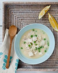 The traditional Greek avgolemono soup is just chicken broth (thickened with egg and flavored with lemon) and rice. We add juicy bites of chicken breast and green peas to make the soup a meal. Plus: More Soup Recipes and Tips