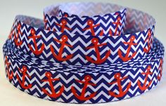 7/8 Nautical Anchors on Chevron Background   Printed