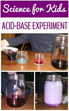 Science at home with kids: change the color of liquid with an acid-base experiment