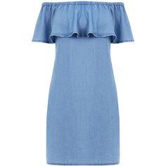 Warehouse Off Shoulder Denim Dress ($51) ❤ liked on Polyvore featuring dresses, light wash denim, blue dress, off shoulder dress, denim dress, off the shoulder dress and warehouse dresses