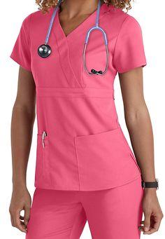The Grey's Anatomy 3-pocket mock-wrap scrub top in Watermelon is so wonderful! | Scrubs & Beyond