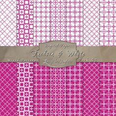 Cute Geometric Inspired Designs in Fuchsia & White – Digital Paper Pack 43