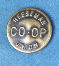 Bb HEESEMAN UNION CO-OP  Antique Brass OVERALL BUTTON Wobble shank Medium