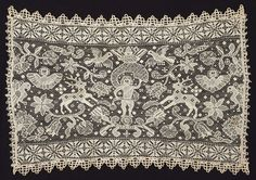 Germany, Hamburg    Panel, 17th century    Linen, knotted netting embroidered with cloth, interlocking lace, and buttonhole stitches and woven wheels (lacis construction); edged on all sides with attached bobbin lace  40 x 57 cm (15 3/4 x 22 7/16 in.)
