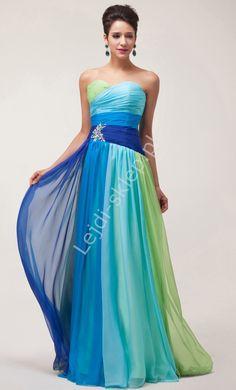 Sukienka wieczorowa w odcieniach niebiesko zielonych  sukienki wieczorowe