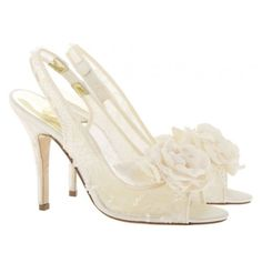 French Chantilly lace slingback bridal heels.  Hand embroidered with crystals and silk flower!  Mother of pearl signature heel.  #CoutureBridalShoes Yukka - Freya Rose London