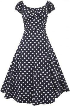 a806089d0941 COLLECTIF Dámské retro šaty Dolores Polka modré Vit Klänning, Anspråkslösa  Kläder, Blygsam Klädsel,