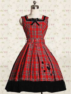 Red Sash Checked Cloth Classic Lolita Dress on www.ueelly.com