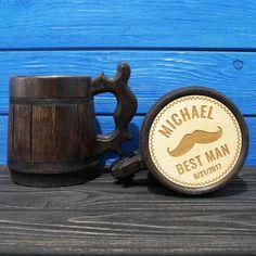 Personalized Groomsman Wooden Beer Mug, Engraved Beer Mug Gift, Handmade Wooden Mug