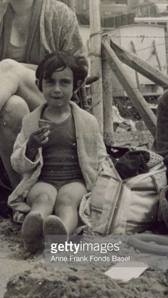 Anne Frank; Five years old Anne Frank eating ice cream on the beach - 1934