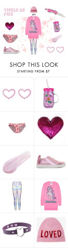 """Tickle Me Pink"" by livvyshmivvy ❤ liked on Polyvore featuring Betsey Johnson, Lipstick Queen, Sophia Webster, Moschino and Gucci"