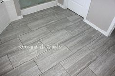Large Bathroom Tiles Can Make Small Bathrooms Feel Less Cluttered Need inspiration to create new bathroom spaces using contemporary bathroom floor tiles? Here are 14 floor tile ideas, from patterned tiles to textured finishes. Small Bathroom Tiles, Bathroom Tile Designs, Large Bathrooms, Art Deco Bathroom, Basement Bathroom, Amazing Bathrooms, Bathroom Ideas, Master Bathroom, Gray Bathroom Floor Tile