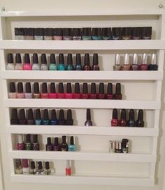 DIY - store all of your  nail polish in a neat convenient rack you can make your self.  #cuttheclutter #qca