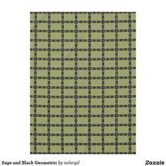 Sage and Black Geometric Tablecloth