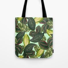 Leaf Pattern Tote Bag, Tropical Leaf Print Bag, Green Beach Bag, Old Hollywood Library Tote, Grocery Sack, Yarn Tote Carry All, Shoulder Bag by OlaHolaHolaBaby on Etsy