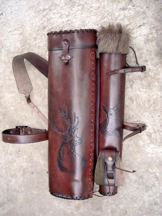 Multifunctional Tooled Leather Quiver and Bow