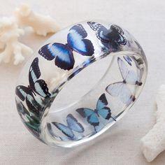Blue Butterflies Eco Resin Bangle Bracelet Spring Summer Graphic Pattern, by cierzojewelry