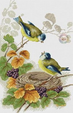 poppies and birds a Valerie Pe Butterfly Cross Stitch, Cross Stitch Bird, Cross Stitch Animals, Cross Stitch Flowers, Cross Stitch Charts, Cross Stitch Designs, Cross Stitching, Cross Stitch Embroidery, Embroidery Patterns