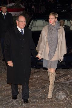 Princess Charlene & Prince Albert attend the Sainte-Devote ceremony
