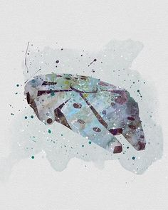 Millennium Falcon Star Wars Watercolor Art - VividEditions: