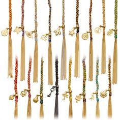 18 karat gold and cream silk woven bracelet from Carolina Bucci