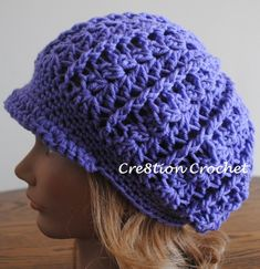 This newsboy slouch crochet hat features a sturdy brim and is super stylish. Made with dc and fpdc it is easy to follow but looks like it was hard.