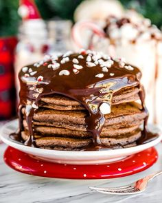 Holiday Chocolate Pancakes with Crushed Canes | Brach's Candy Chocolate Pancakes, Mini Chocolate Chips, Food Experiments, Powdered Milk, Canes, Candy Cane, Holiday Recipes, Cocoa, Vegetarian
