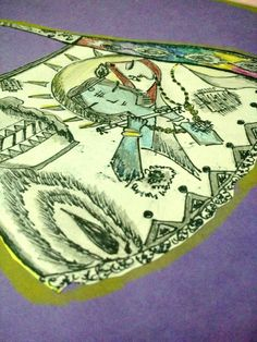 A hand bag inspired by lord krishna, Free hand drawing with a black marker.