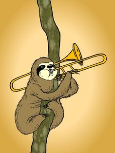 Trombone Sloth by zevahcproductions on DeviantArt Cute Baby Sloths, Cute Sloth, My Spirit Animal, My Animal, Partituras Trombone, Music Collage, Sheet Music Art, Band Nerd, Sketch Inspiration