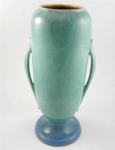 """Vintage Roseville Art Pottery Orian Handled Vase 743-14"""" Turquoise Blue Glossy #Roseville"""