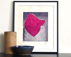 Original Mixed Media Etching Abstract Collage LIKE A FISH Fine Art Print Home Wall Decor Hand Pulled Print Limited Edition 11x10 made by Ana Dora