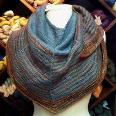 I made this one in shades of pale greens. I love his designs!  Stephen West Daybreak Shawl/ Woolworks, Baltimore