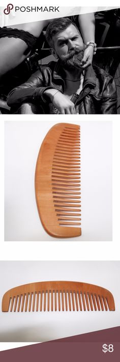 """BEARD COMB WIDE TOOTH PEACHWOOD NO SCENT MEN There's an intriguing affect felt by the viewer of a well groomed, shiny, shapely & soft beard. I call it an aphrodisiac of sorts, It's sent out before anyone is even close enough to touch & smell your stunning accessory. Yes, it's an accessory, on your face, as is a pair of glasses, it's the first thing a person notices about you upon entering a room.    Measures 6.5"""" x 2"""" Peachwood  This information is Copyrighted 2017 by COA Stages Wood Comb…"""
