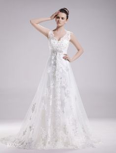 Silhouette	A-Line Neck	V-Neck Sleeve length	Sleeveless Train	Chapel Train Embellishment	No Material	Lace