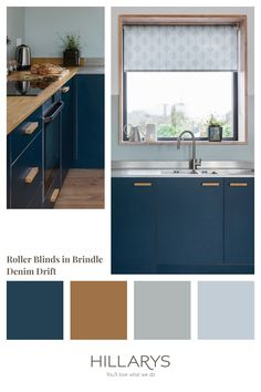 Inject a splash of colour and pattern into your home with Brindle Denim Drift Roller blind, with a tonal blue geometric design. It features a stylish octagon design in varying shades of blue, and is wipe-clean, making it ideal for kitchens, dining rooms and bathrooms. Perfectly to pair with similar blue hues in your Kitchen, see our range of blue blinds. Blue Roller Blinds, Blue Roman Blinds, Blue Vertical Blinds, Blue Kitchen Interior, Dark Blue Kitchens, Denim Drift, Stairs In Living Room, Striped Room, Blue Interiors