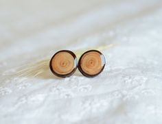 Wooden earrings with tree bark sterling silver by MyPieceOfWood